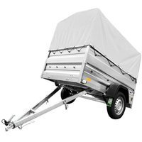 Leaf-spring trailer 200x125 Garden Trailer 205/R 750 kg with side extensions and high tarpaulin