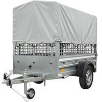 Lightweight car trailer Garden Trailer 200 with mesh sides, tarpaulin and jockey wheel GVW 750 kg