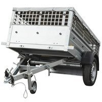 Small car trailer with mesh sides, flat tarpaulin and jockey wheel - Garden Trailer 200 - 200x106 cm - GVW 750 kg