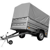 Tipping trailer 200x125 cm with side bars, tarpaulin, side extensions and jockey wheel - Garden Trailer 205 GVW 750 kg