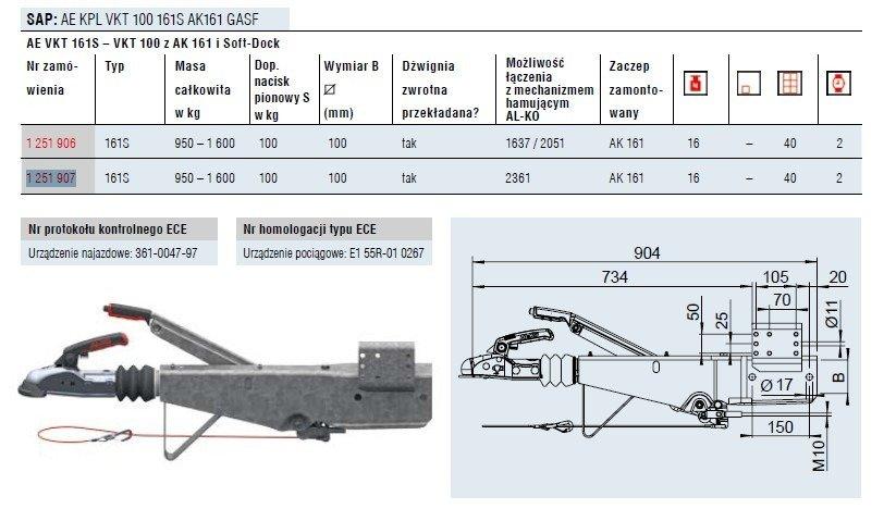 Coupling unit for trailers AL-KO 1600kg KW100 161S AK160