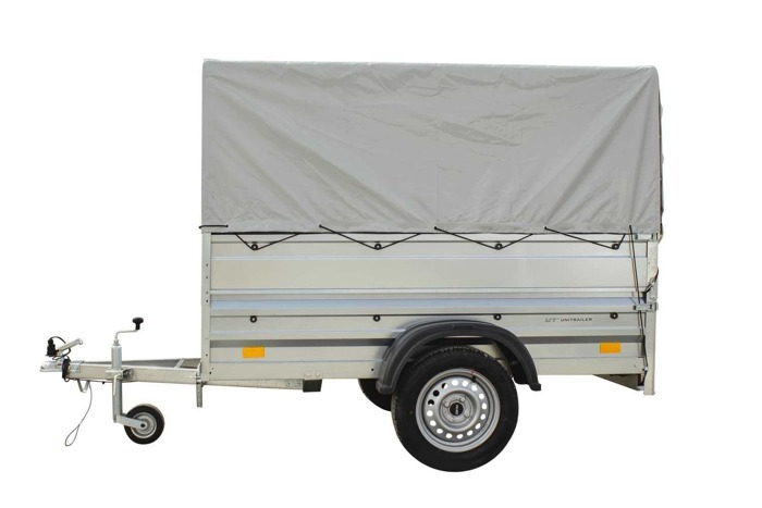 Tipping trailer 750 kg Garden Trailer 200, 200x106 cm, with high cover, extra sides and jockey wheel