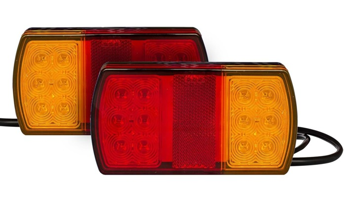 LED trailer tail lights for sale by Fabrilcar by Aspöck. Universal trailer lights with 4 functions