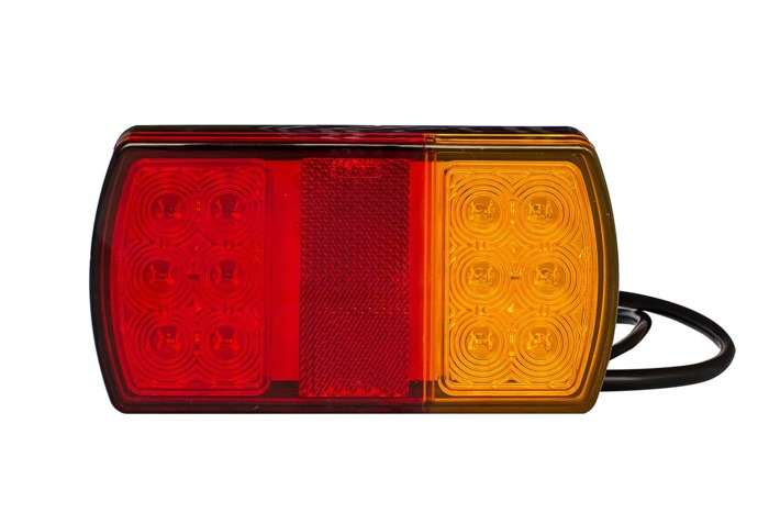 Set: 2x tail lights for utility trailer by Fabrilcar by Aspöck. Universal trailer lights with 4 functions
