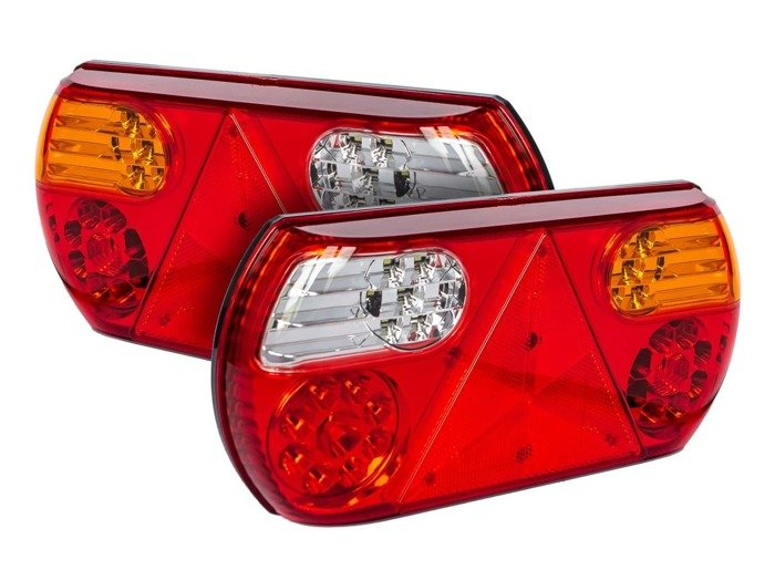 Set: 2x utility trailer tail lights - Fabrilcar by Apsöck - 6 LED functions - LEFT AND RIGHT side