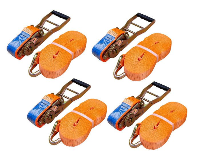 Set: 4 ERGO ratchet straps 10M/50mm/5T