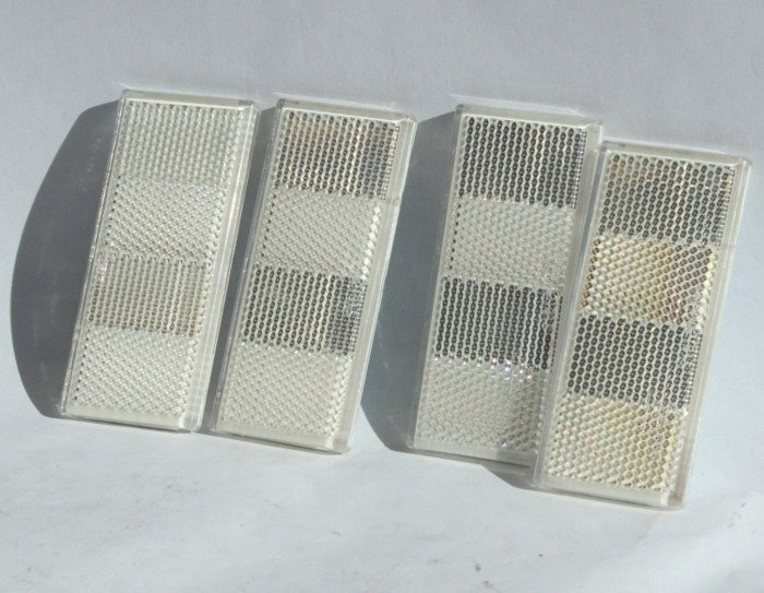 Set of 4 rectangular white side reflectors for trailers