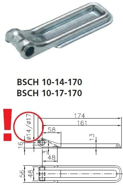 Set of tailgate hinges BSCH 10-17-170 and BSCHG 10-A for trailers - Winterhoff