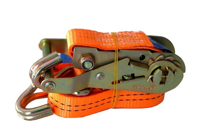 Set of ten 4m long ratchet lashing straps with a tightener - 25mm wide, resistance of up to 1 tonne
