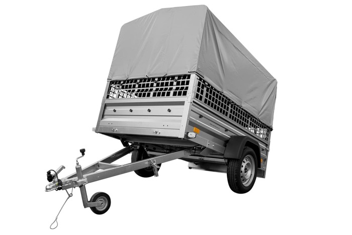 Single axle trailer 200x125 cm with side bars, mesh sides and a jockey wheel - Garden Trailer 205 GVW 750 kg
