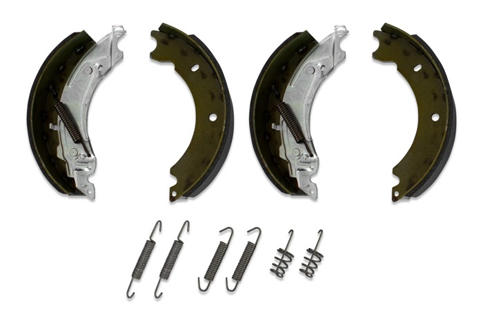 Trailer axle brake shoes for KNOTT 200x500 with a full set of springs