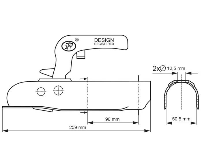 Trailer coupling hitch 750 C for pipes with a 50 mm diameter