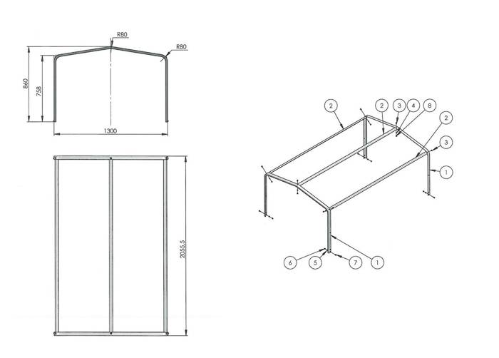 Trailer frame kit - blue trailer tarpaulin and high frame for Garden Trailer 205