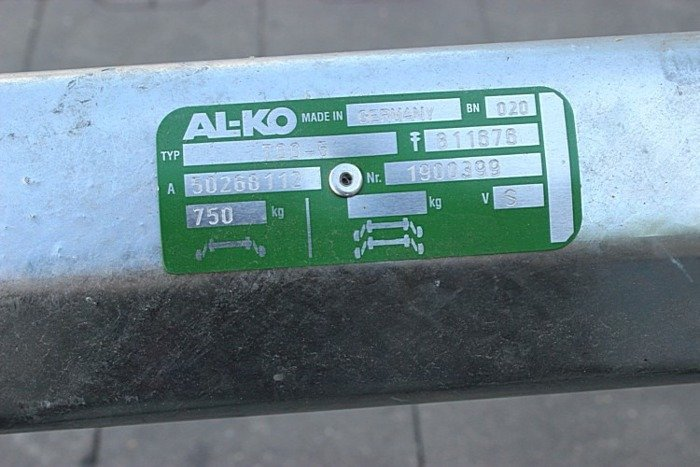 Unbraked axle for trailers AL-KO optima 1180 mm 750 kg 100x4