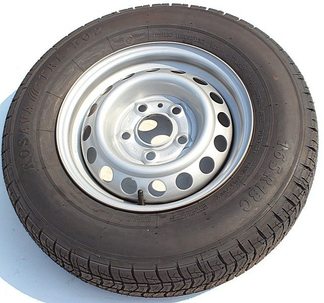 Wheel assembly (tyre+rim) 165 R13C by Rosava for trailers